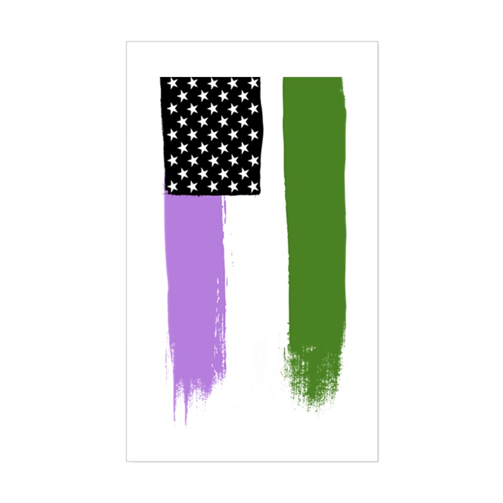 Genderqueer Pride Flag Stars and Stripes Flag Rectangle Sticker