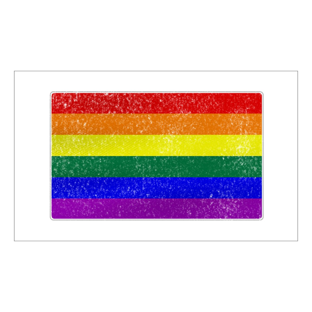 Distressed LGBT Gay Pride Flag Rectangle Sticker