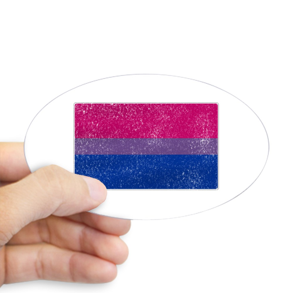 Distressed Bisexual Pride Flag Oval Sticker