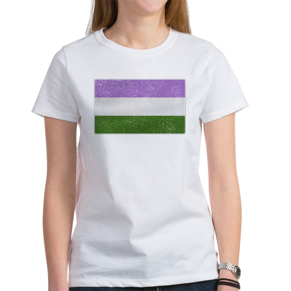 Distressed Genderqueer Pride Flag Women's T-Shirt
