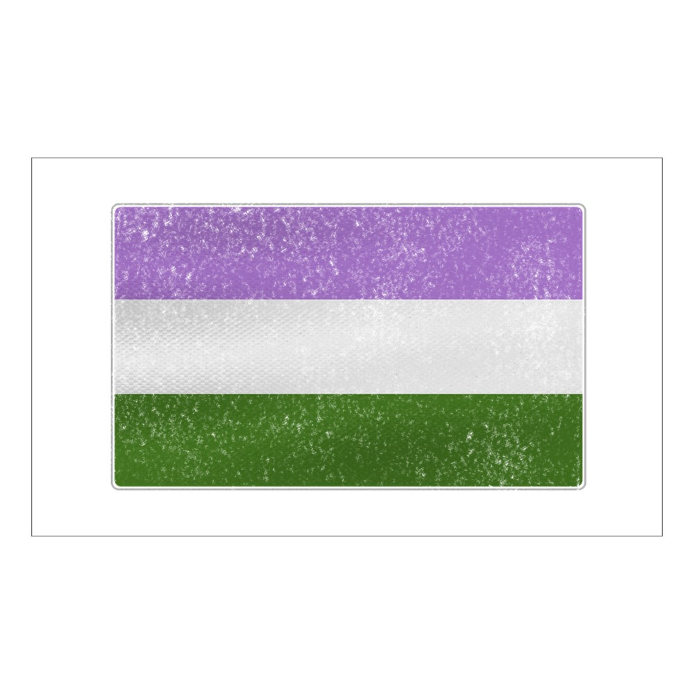 Distressed Genderqueer Pride Flag Rectangle Sticker
