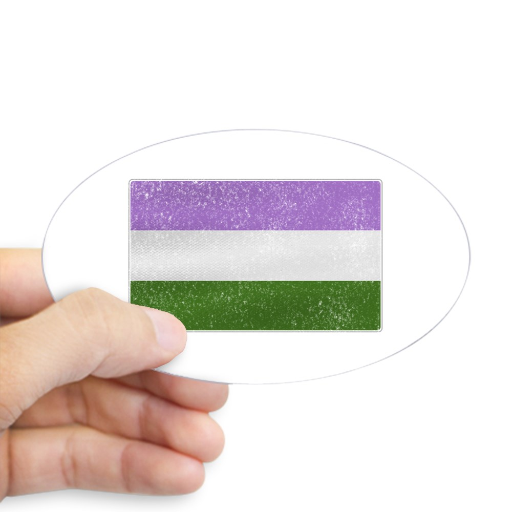 Distressed Genderqueer Pride Flag Oval Sticker