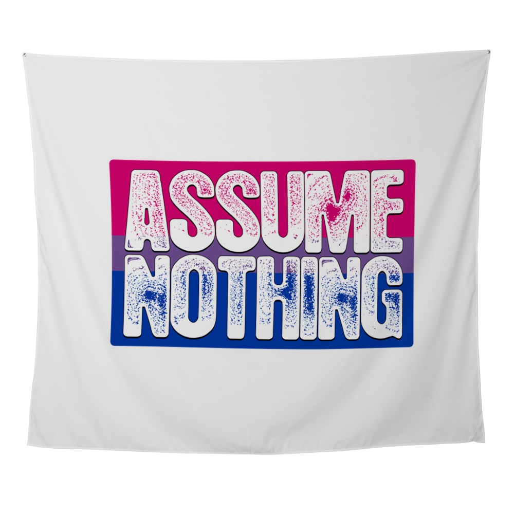 Assume Nothing Bisexual Pride Flag Wall Tapestry