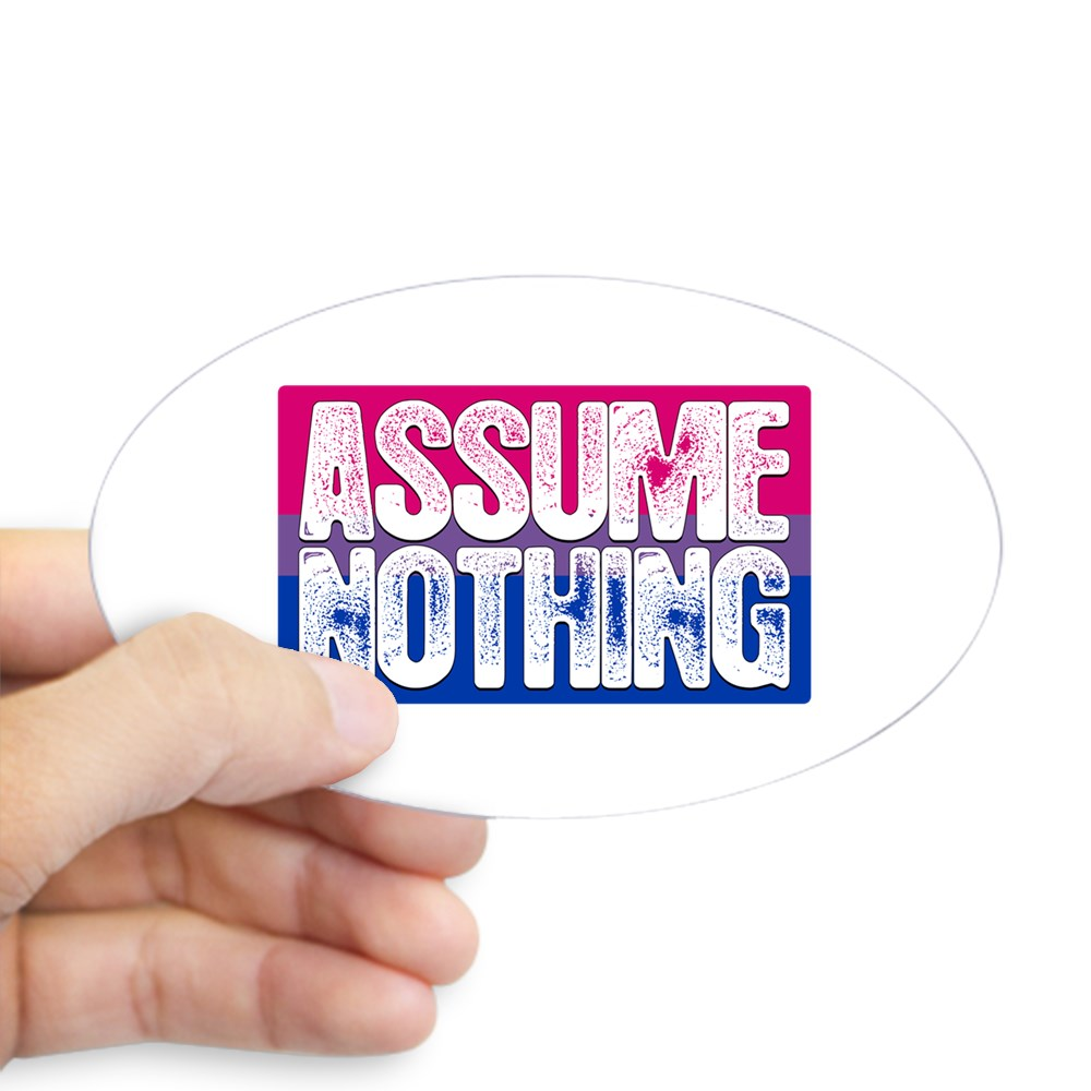 Assume Nothing Bisexual Pride Flag Oval Sticker