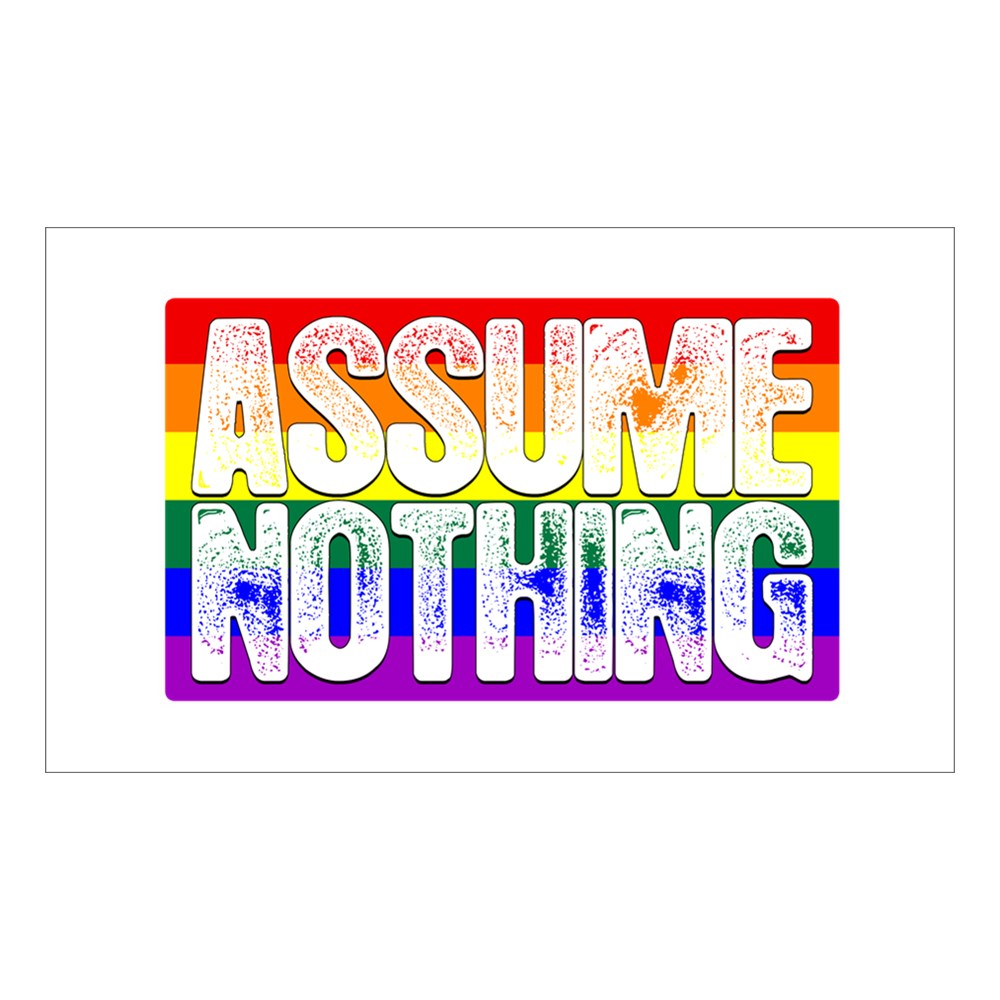 Assume Nothing LGBT Gay Pride Flag Rectangle Sticker