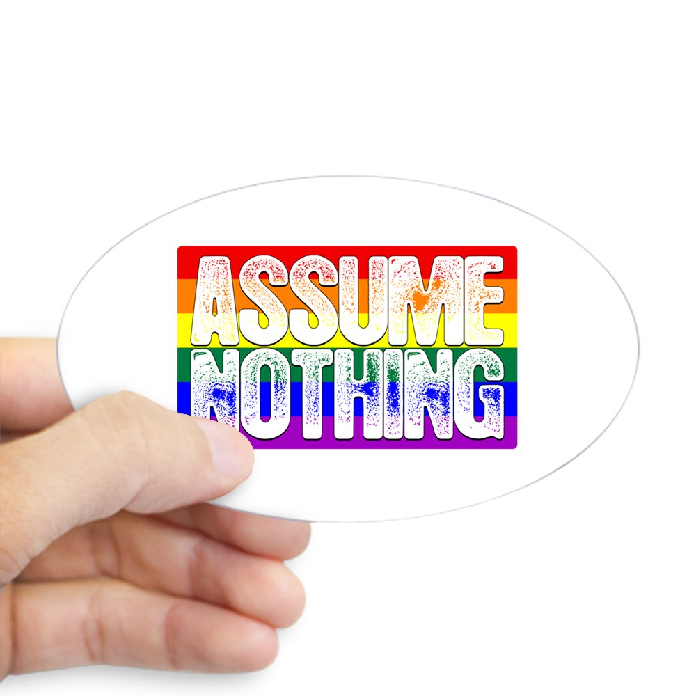 Assume Nothing LGBT Gay Pride Flag Oval Sticker