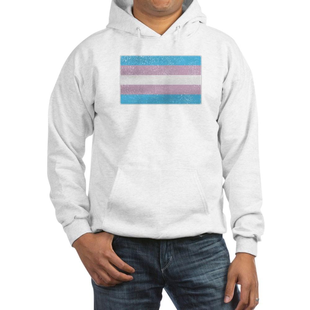 Distressed Transgender Pride Flag Hooded Sweatshirt