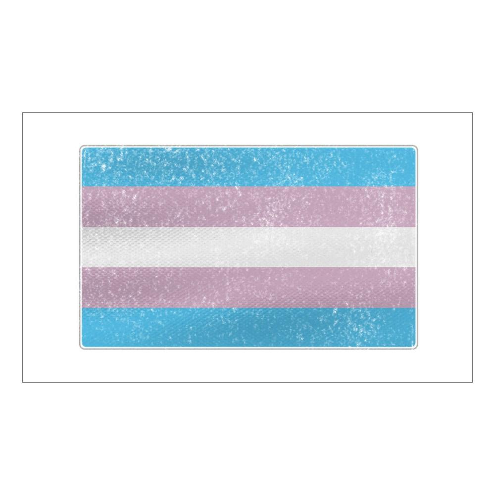 Distressed Transgender Pride Flag Rectangle Sticker