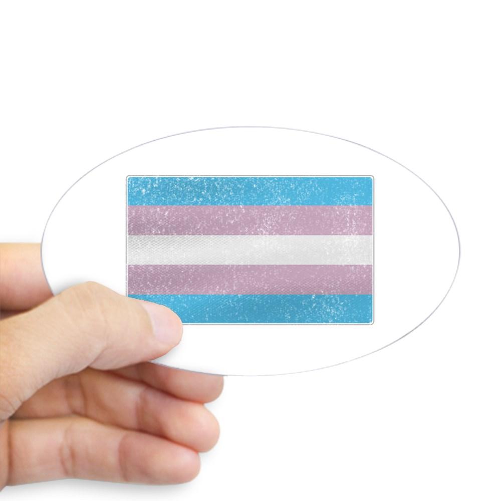 Distressed Transgender Pride Flag Oval Sticker
