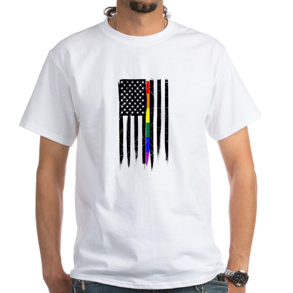 LGBT Gay Pride Thin Line American Flag White T-Shirt