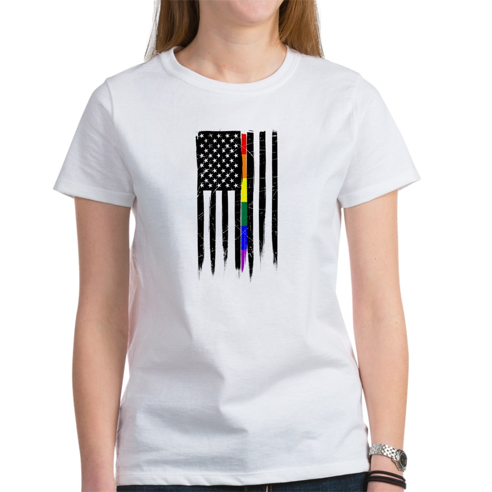 LGBT Gay Pride Thin Line American Flag Women's T-Shirt