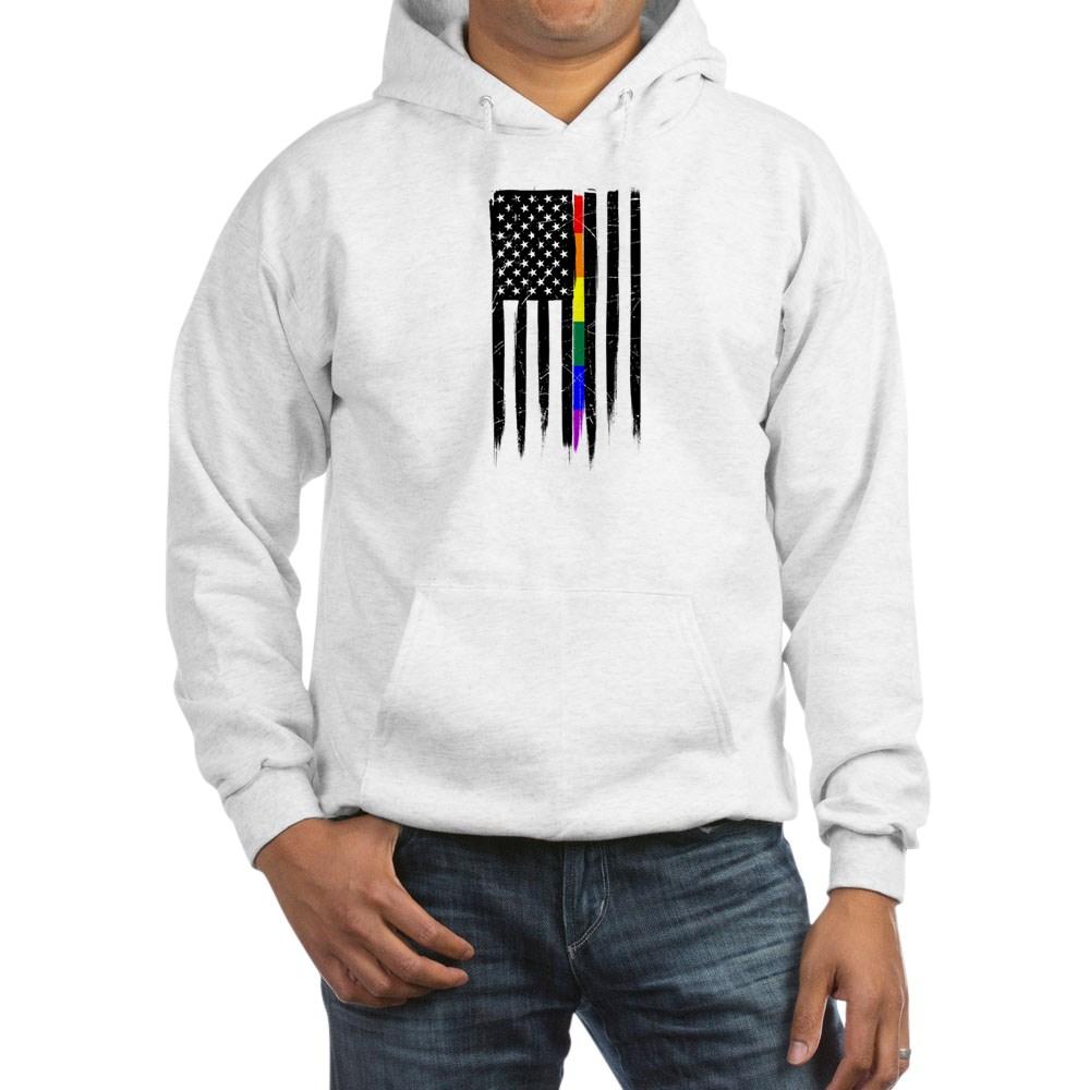 LGBT Gay Pride Thin Line American Flag Hooded Sweatshirt