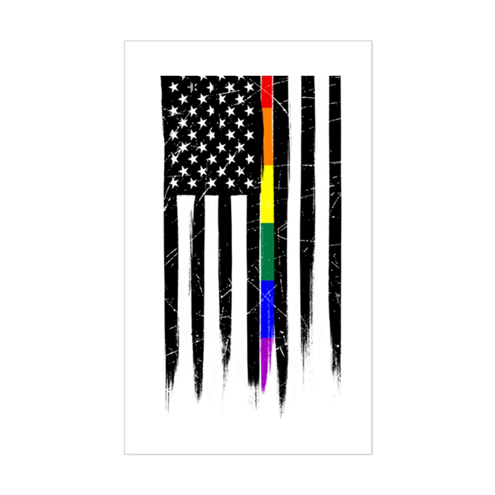 LGBT Gay Pride Thin Line American Flag Rectangle Sticker