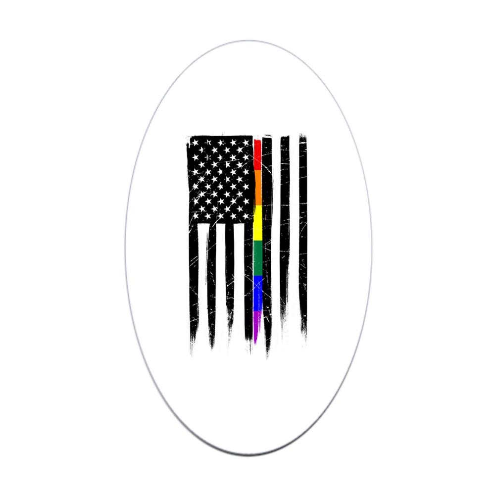 LGBT Gay Pride Thin Line American Flag Oval Sticker
