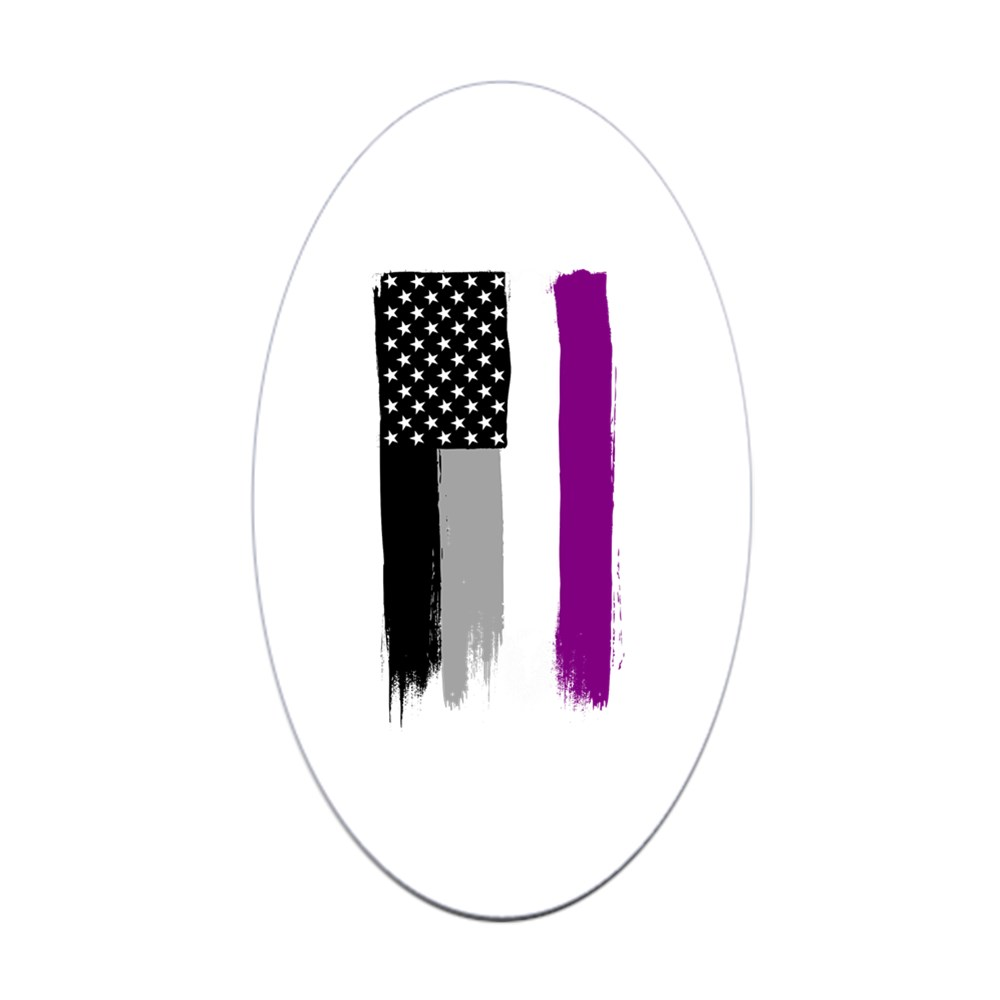 Asexual Pride Flag Stars and Stripes Flag Oval Sticker