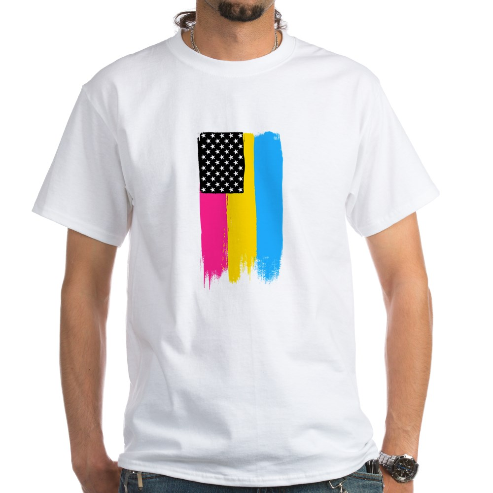 Pansexual Pride Flag Stars and Stripes Flag White T-Shirt
