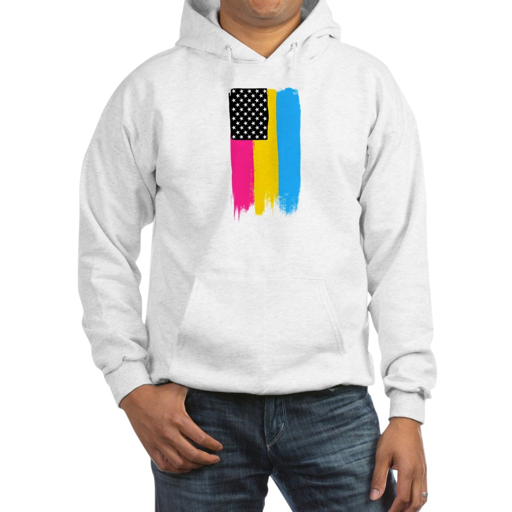 Pansexual Pride Flag Stars and Stripes Flag Hooded Sweatshirt
