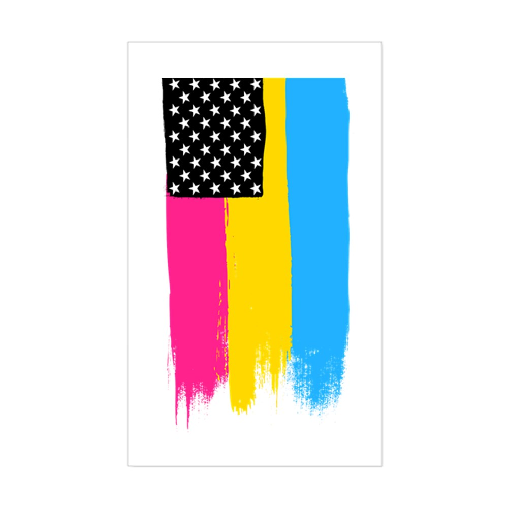 Pansexual Pride Flag Stars and Stripes Flag Rectangle Sticker