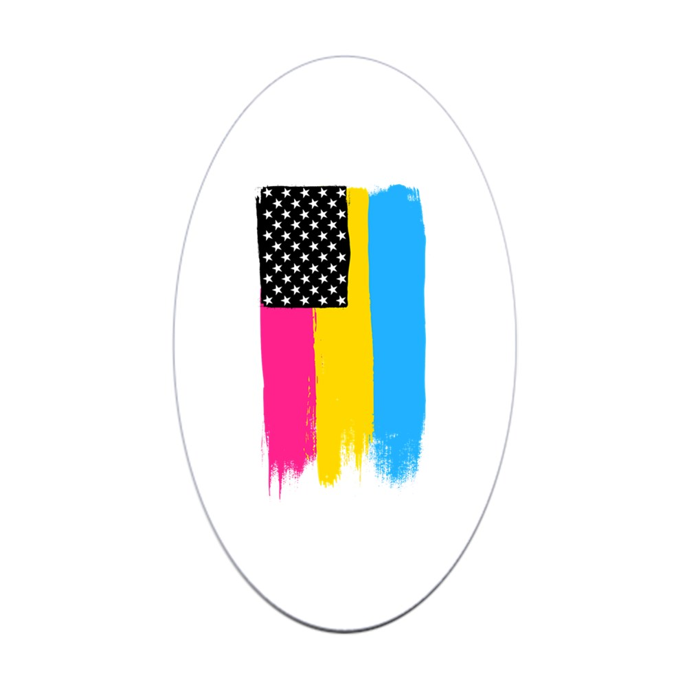 Pansexual Pride Flag Stars and Stripes Flag Oval Sticker
