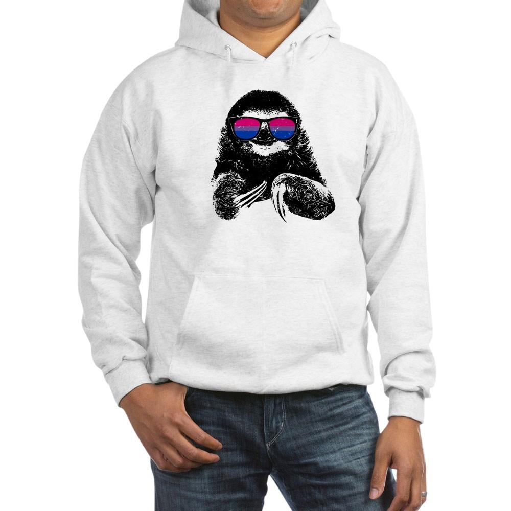 Pride Sloth Bisexual Flag Sunglasses Hooded Sweatshirt