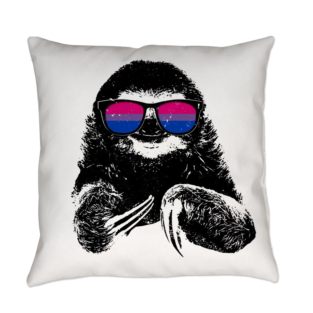 Pride Sloth Bisexual Flag Sunglasses Everyday Pillow