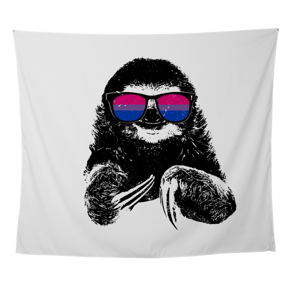 Pride Sloth Bisexual Flag Sunglasses Wall Tapestry