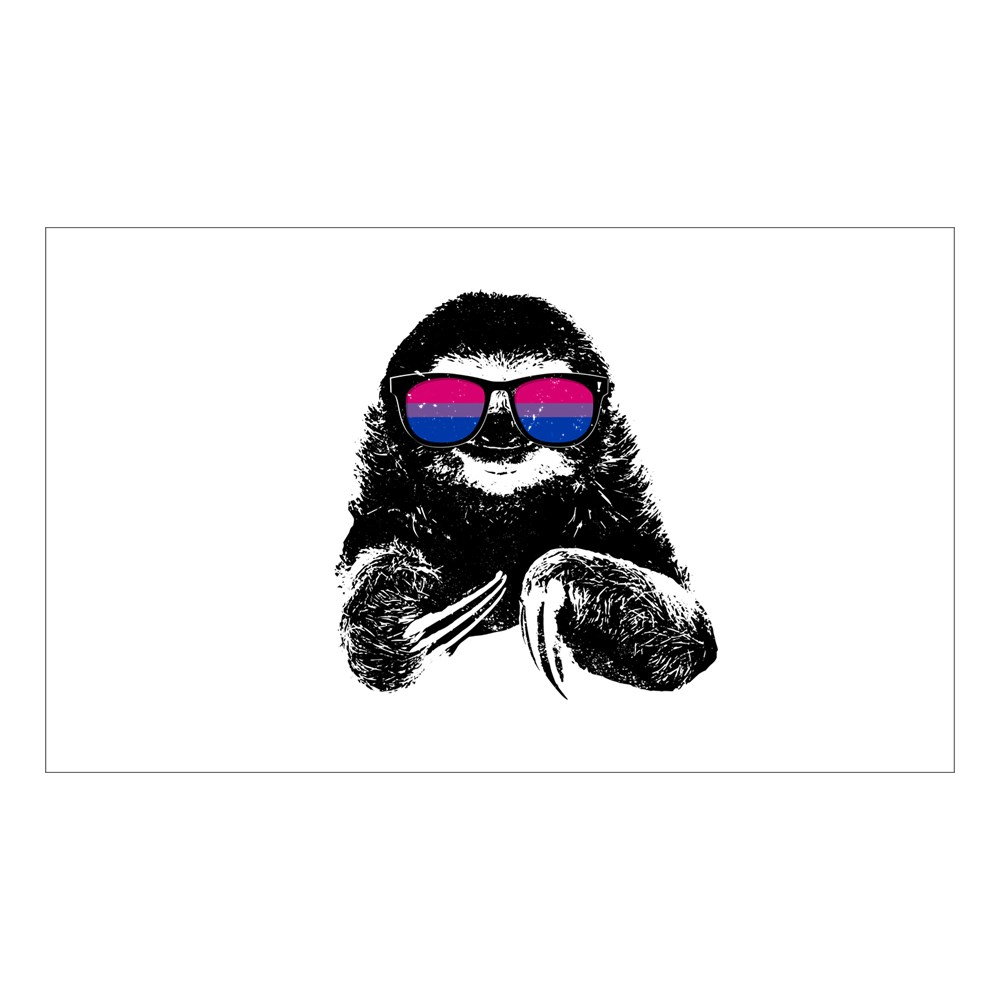 Pride Sloth Bisexual Flag Sunglasses Rectangle Sticker