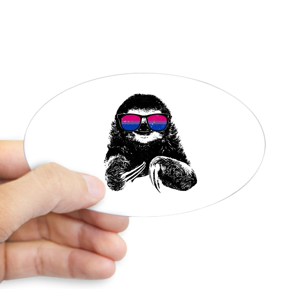 Pride Sloth Bisexual Flag Sunglasses Oval Sticker