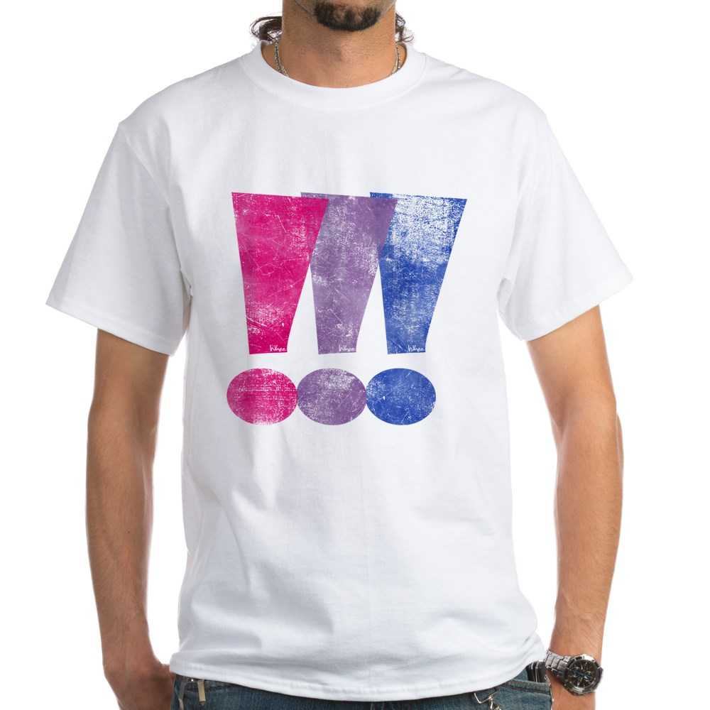 Distressed Bisexual Pride Exclamation Points Graphic White T-Shirt
