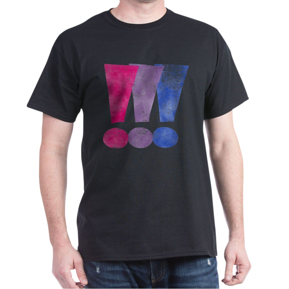 Distressed Bisexual Pride Exclamation Points Graphic Dark T-Shirt