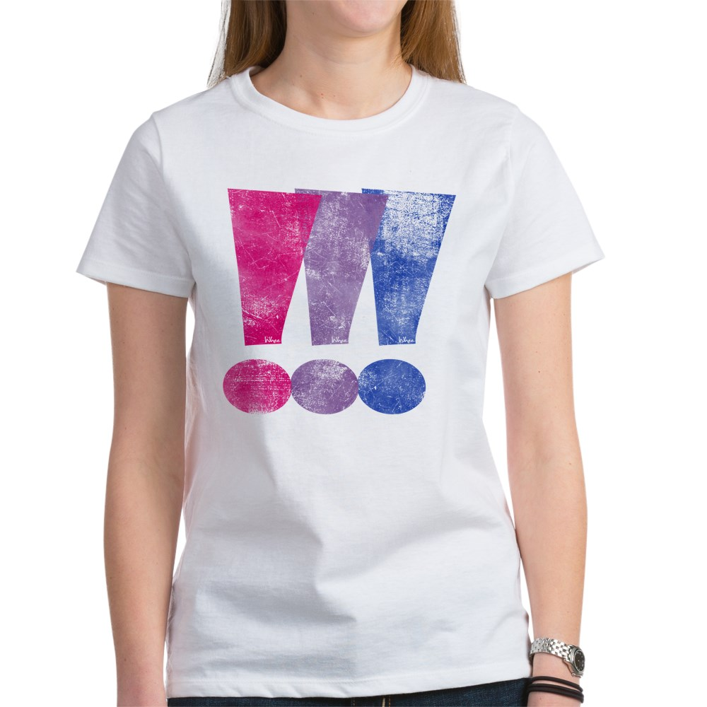 Distressed Bisexual Pride Exclamation Points Graphic Women's T-Shirt