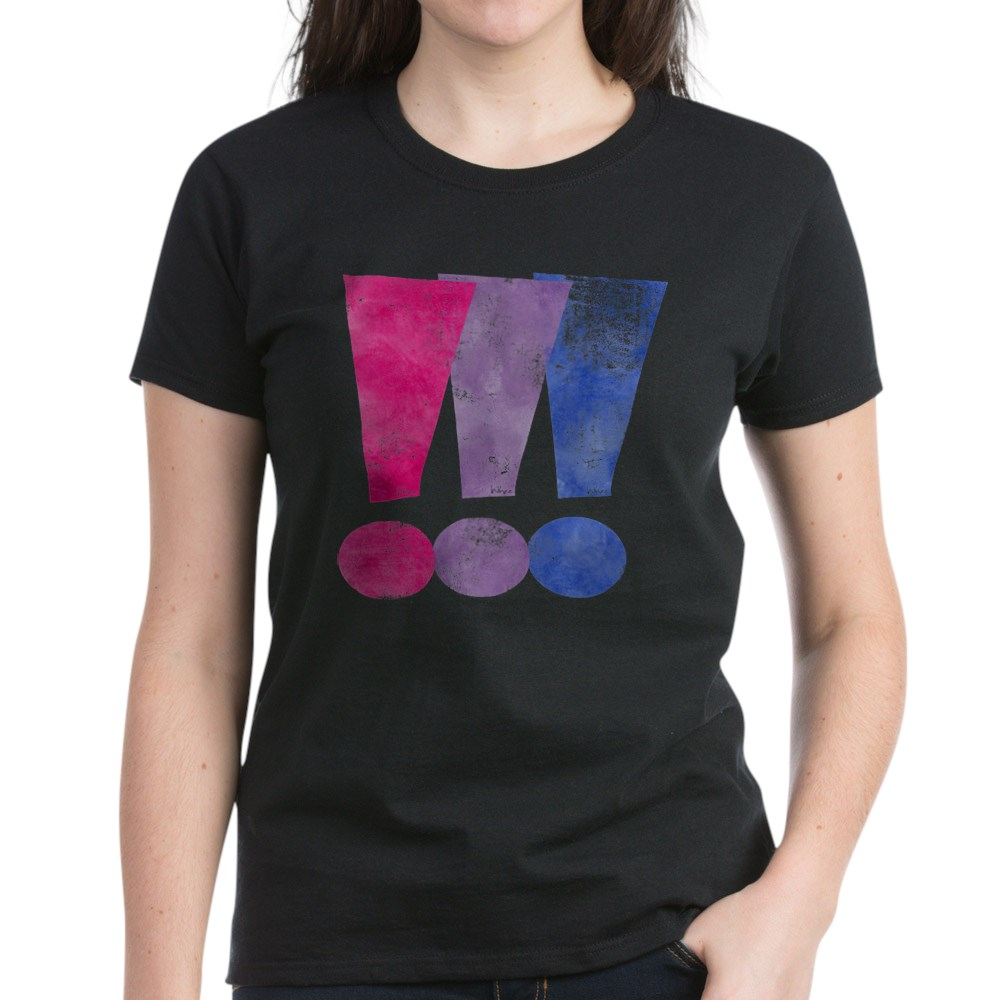 Distressed Bisexual Pride Exclamation Points Graphic Women's Dark T-Shirt