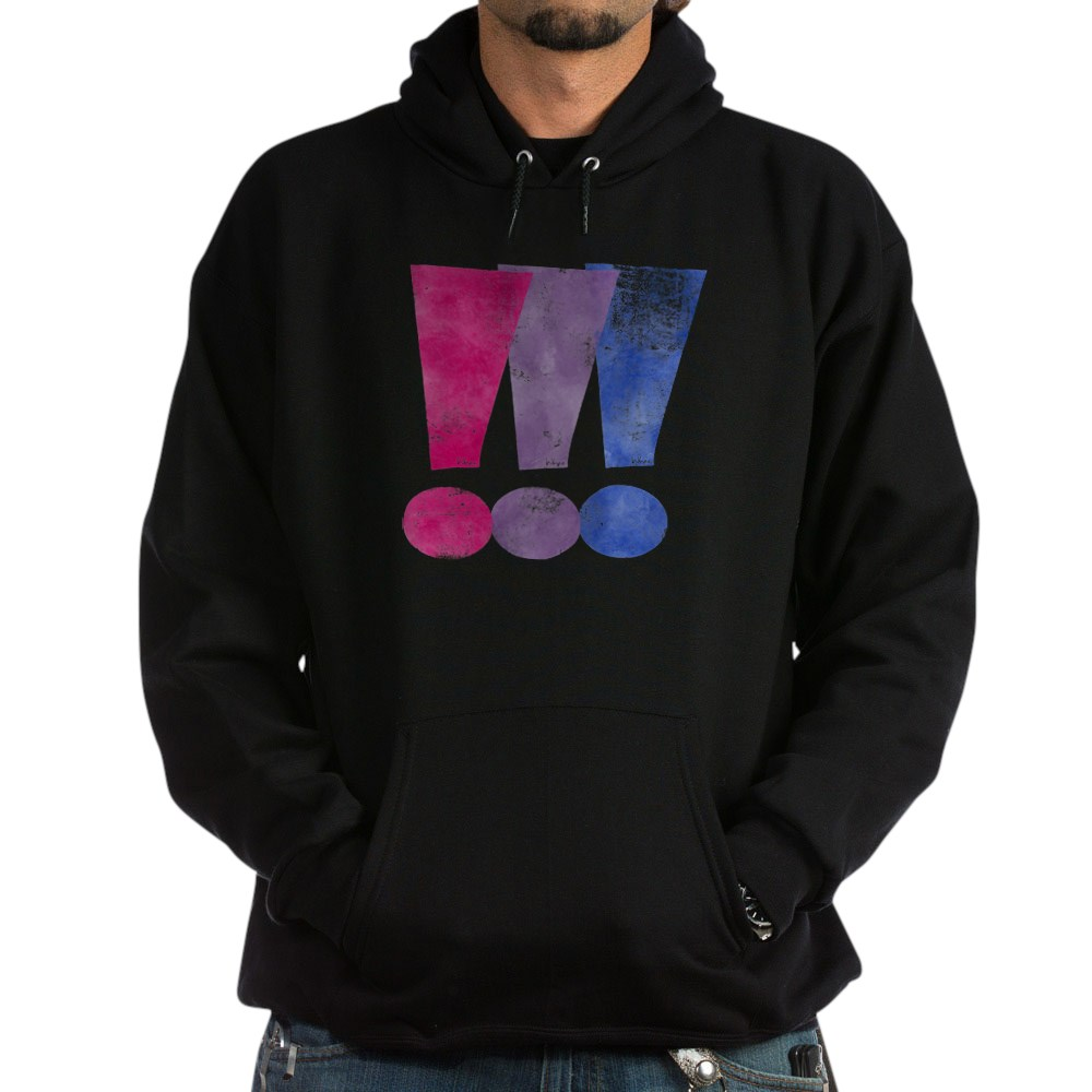 Distressed Bisexual Pride Exclamation Points Graphic Dark Hoodie