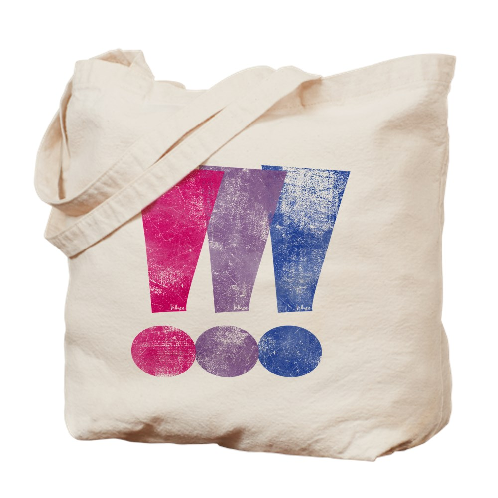 Distressed Bisexual Pride Exclamation Points Graphic Tote Bag