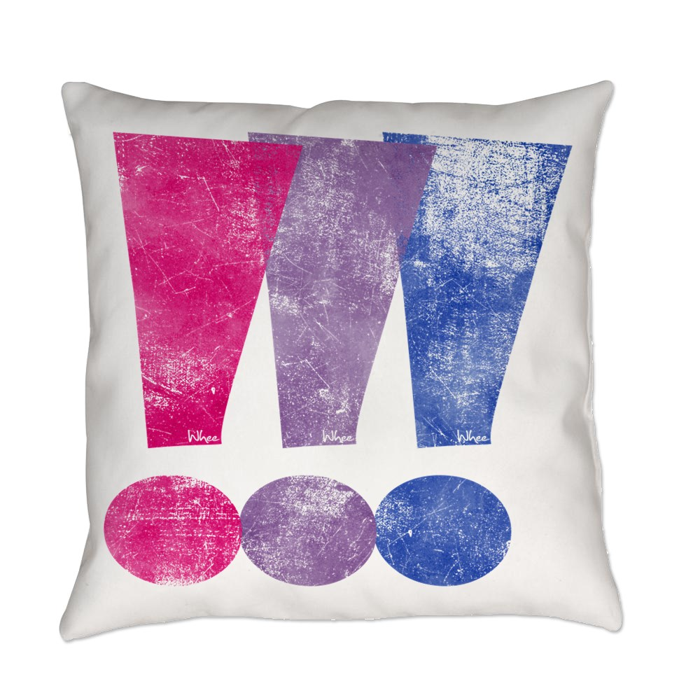 Distressed Bisexual Pride Exclamation Points Graphic Everyday Pillow