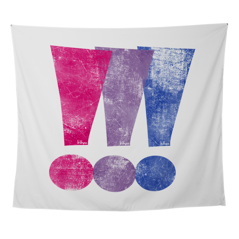 Distressed Bisexual Pride Exclamation Points Graphic Wall Tapestry