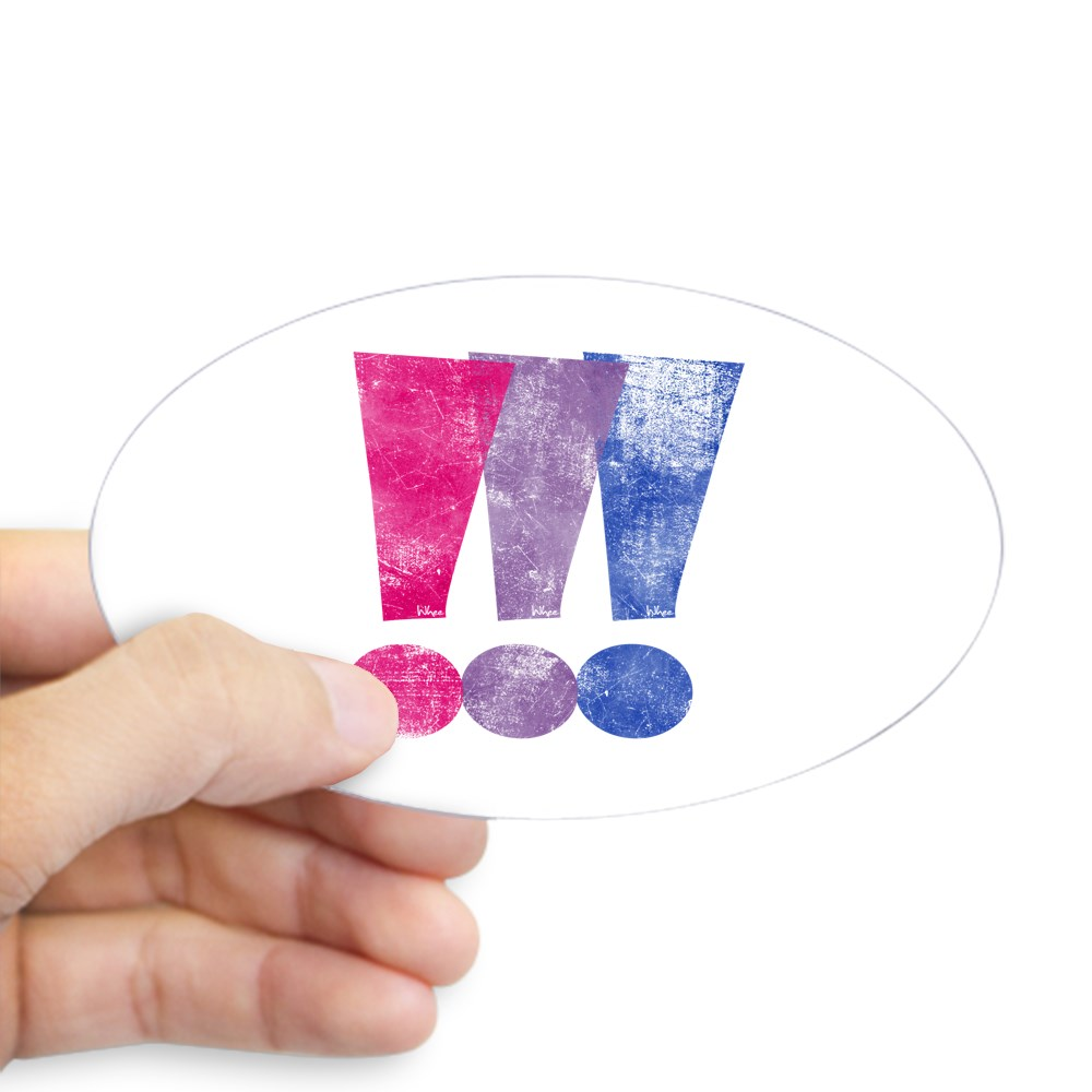 Distressed Bisexual Pride Exclamation Points Graphic Oval Sticker
