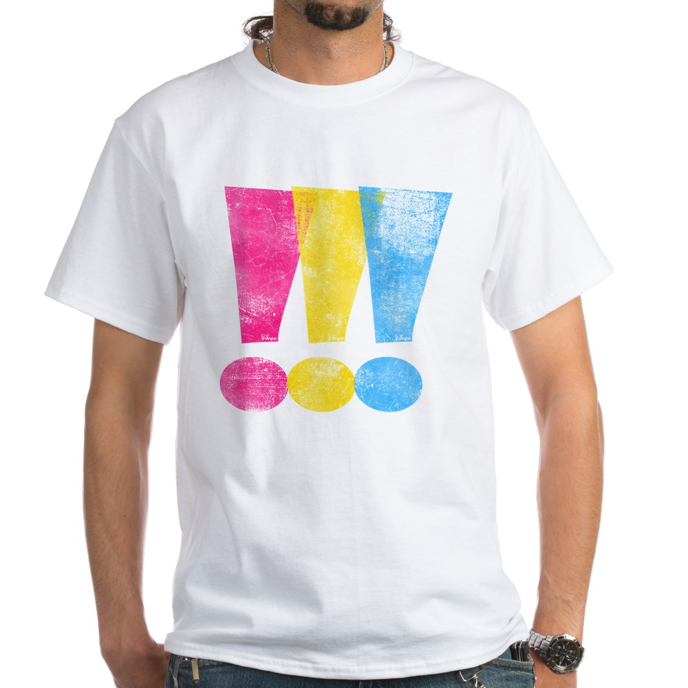 Distressed Pansexual Pride Exclamation Points White T-Shirt
