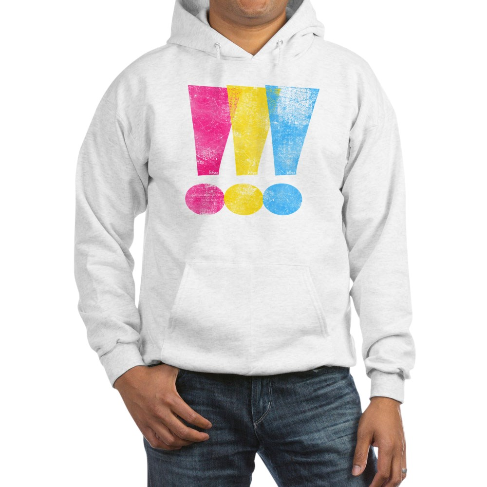 Distressed Pansexual Pride Exclamation Points Hooded Sweatshirt
