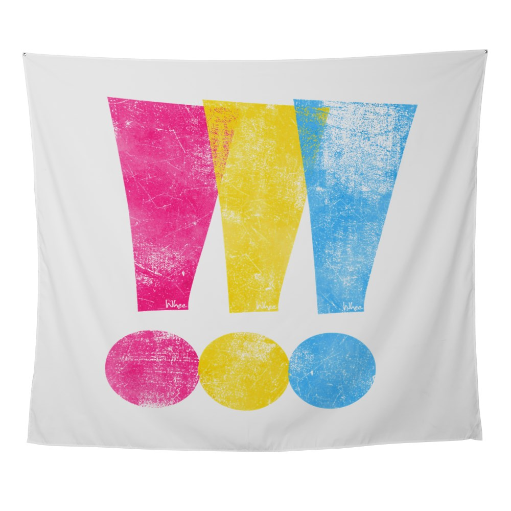 Distressed Pansexual Pride Exclamation Points Wall Tapestry