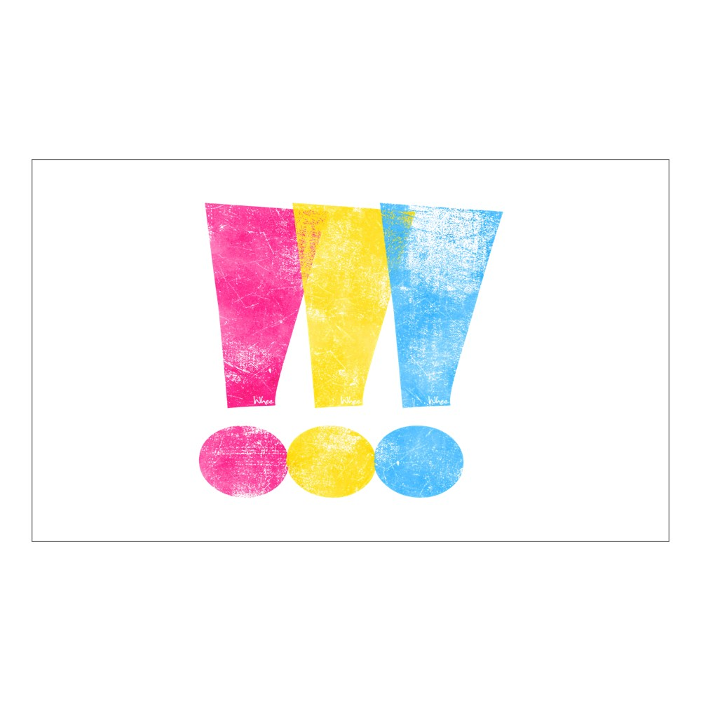 Distressed Pansexual Pride Exclamation Points Rectangle Sticker
