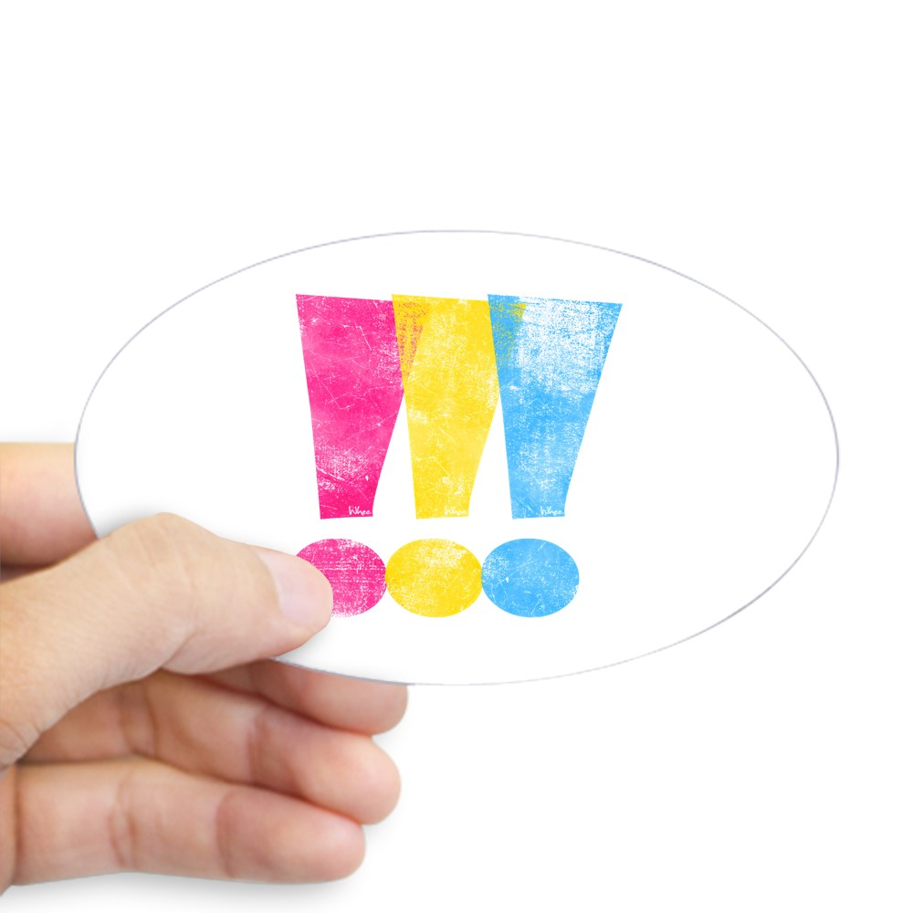 Distressed Pansexual Pride Exclamation Points Oval Sticker