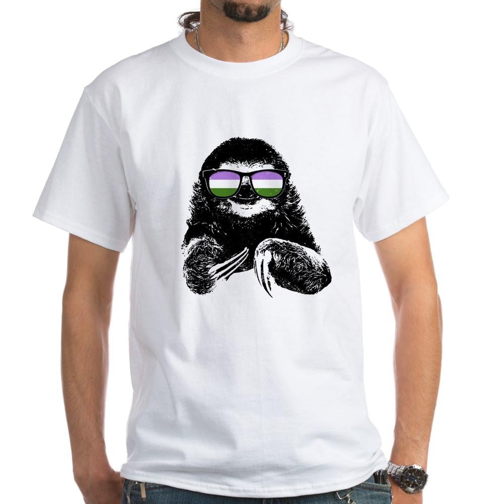 Pride Sloth Genderqueer Flag Sunglasses White T-Shirt
