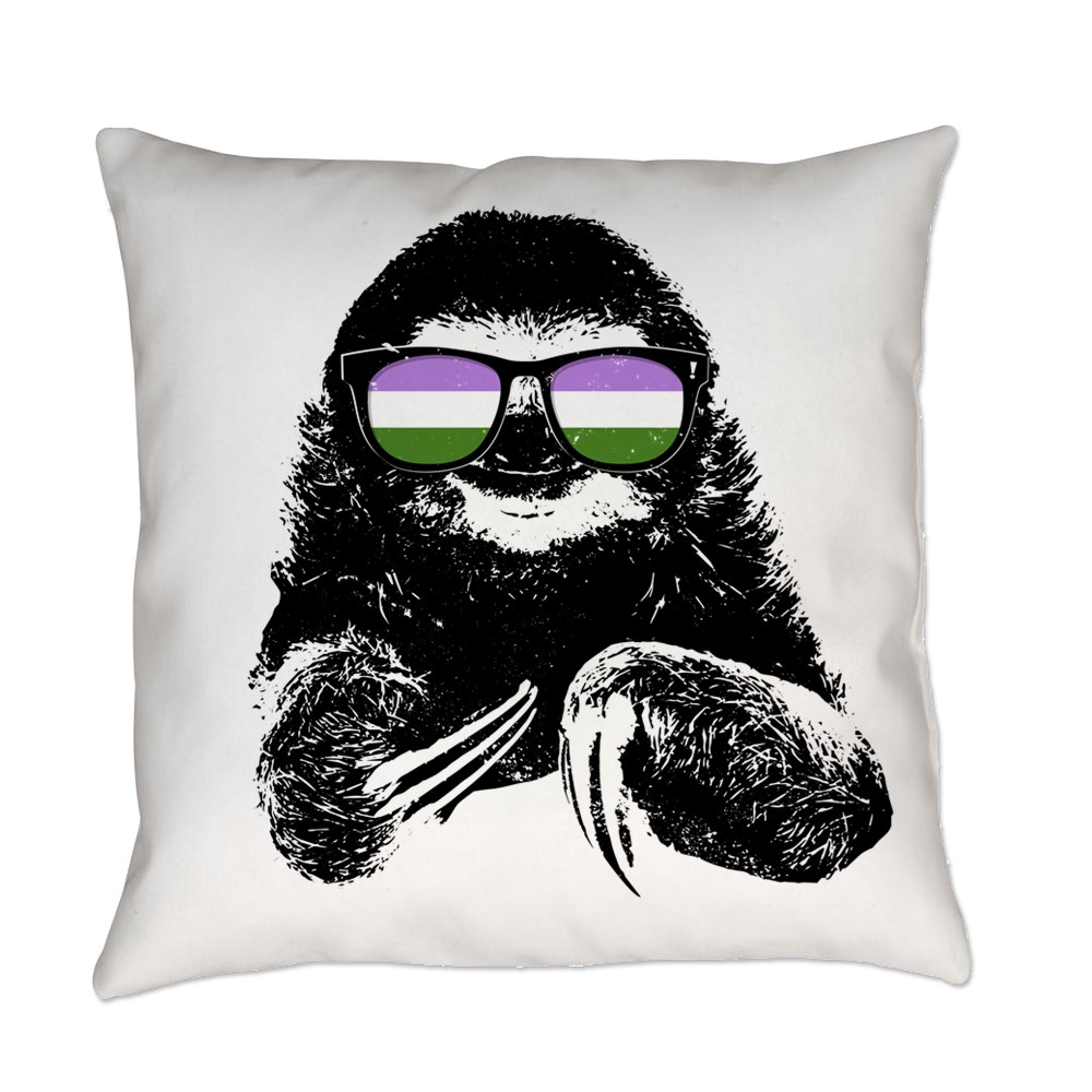 Pride Sloth Genderqueer Flag Sunglasses Everyday Pillow