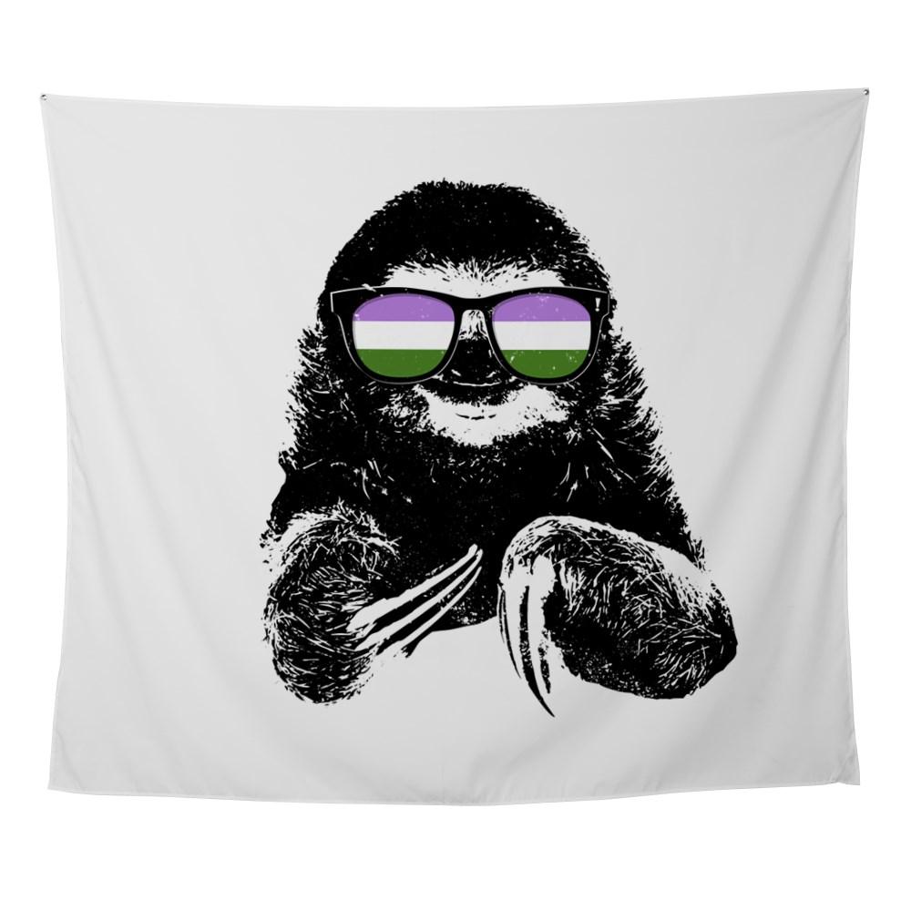 Pride Sloth Genderqueer Flag Sunglasses Wall Tapestry