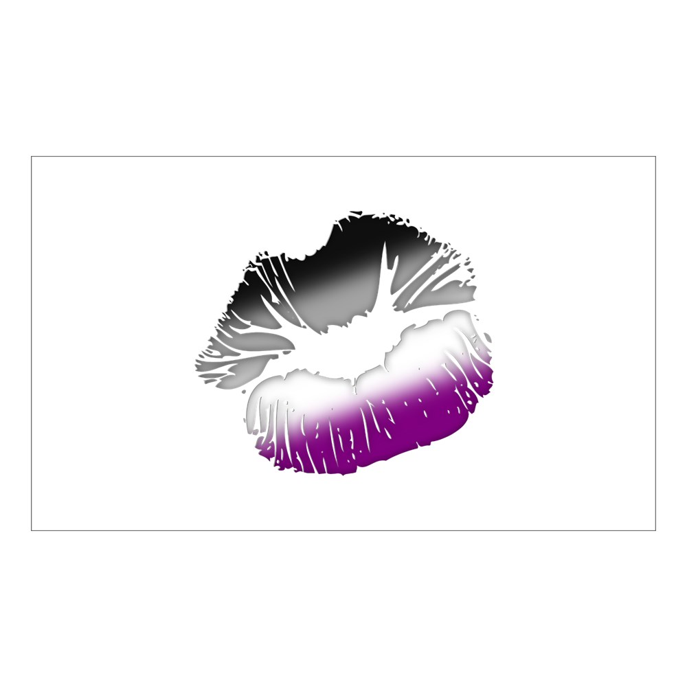 Asexual Pride Big Kissing Lips Rectangle Sticker