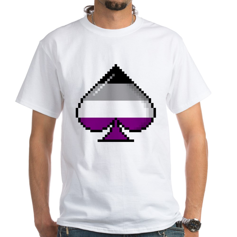 Asexual Pride Flag Pixel 8-Bit Ace White T-Shirt