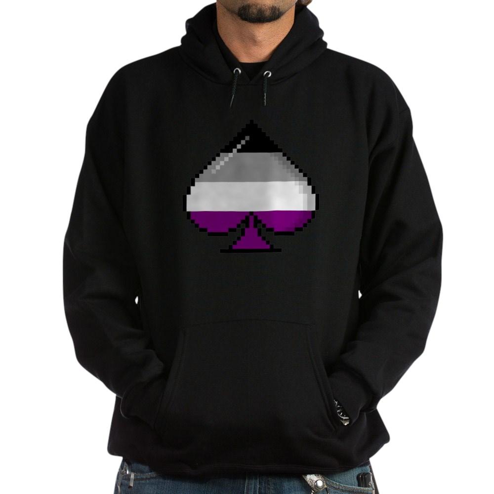 Asexual Pride Flag Pixel 8-Bit Ace Dark Hoodie