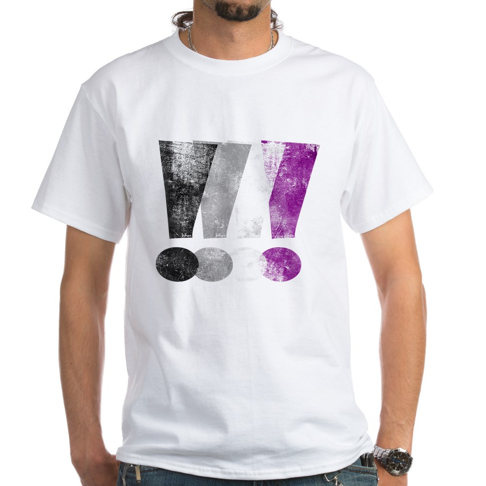 Distressed Asexual Pride Exclamation Points White T-Shirt