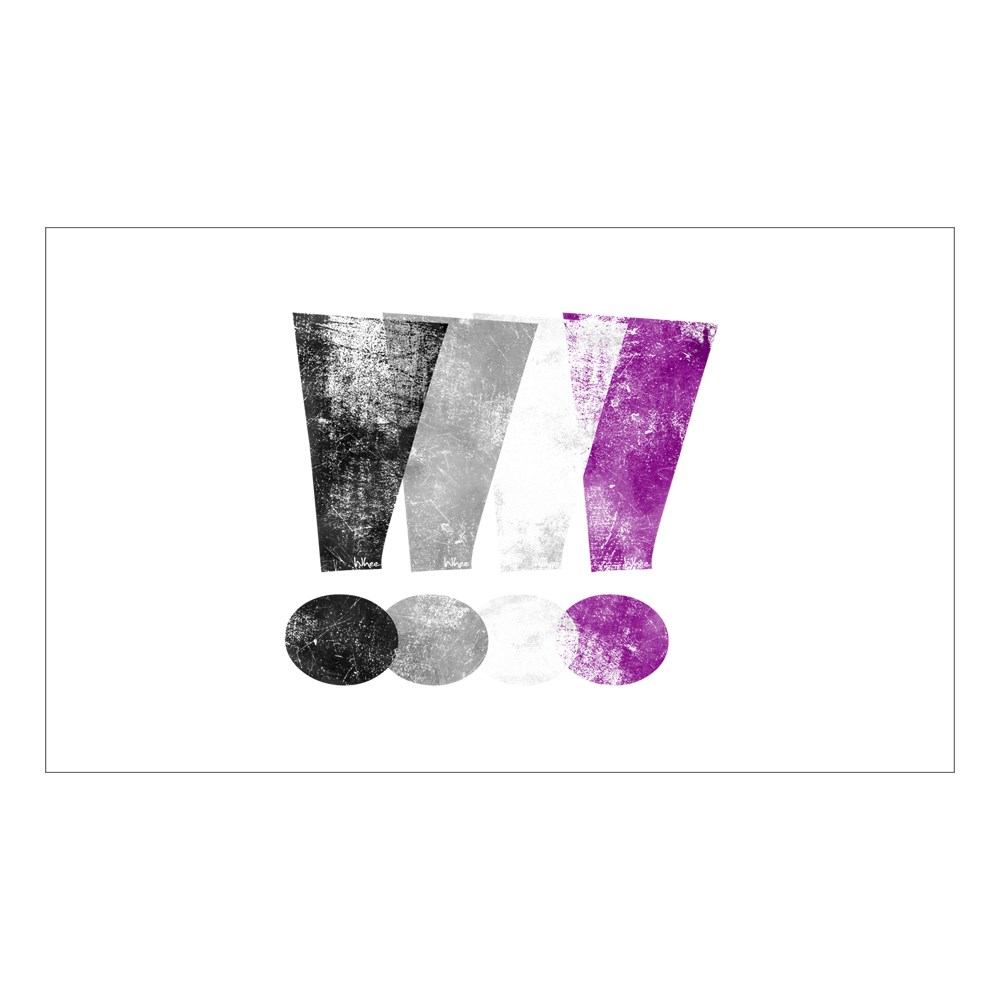 Distressed Asexual Pride Exclamation Points Rectangle Sticker